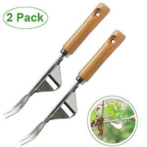 COONLINE 2 Pcs Manual Weeder Tool Garden Outdoor Weeding Removal & Digging 2-in-1 Weed Puller Handy Tool for Bonsai Flower Yard Lawn Transplant and More