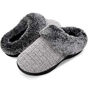 Women's House Slippers Plush Faux Fur Collar Chenille Knit Scuff Warm Ladies' Fuzzy Slip on House Shoes Memory Foam Indoor Outdoor Anti-Skid Grey 9-10