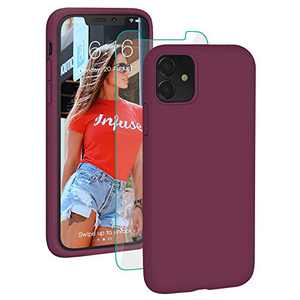 PROBIEN Liquid Silicone iPhone 11 Case with [Tempered Screen Protector] Shockproof Phone Case, Gel Rubber Full Body Drop Protection Cover for iPhone 11 6.1 inch-Wine Red