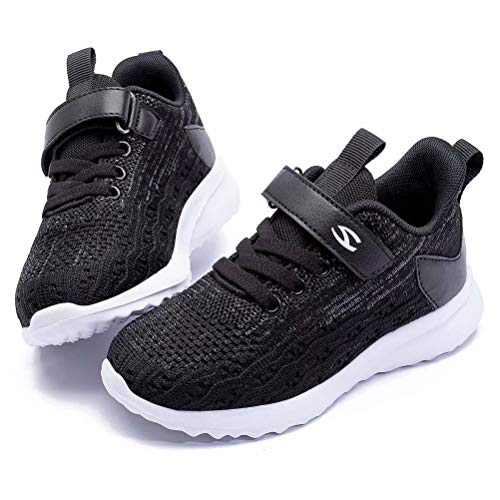 WOUEOI Kid Boys Girls Shoes Running Sports Sneakers Toddler/Little (Black 1, 12.5 Little_Kid)