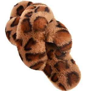 Women's Cross Band Slippers Soft Plush Furry Breathable Open Toe House Shoes Indoor Outdoor Comfortable Faux Rabbit Fur Slip On Cozy for Girls Spring Summer Brown Leopard 9-10