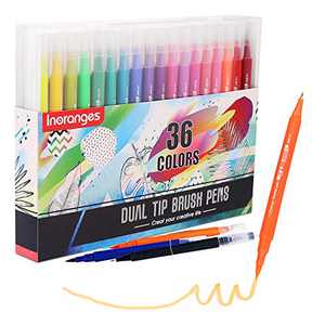 Inoranges 36 Colors Dual Tip Pens Set, Art Markers Fine Point Journal Pens & Colored Brush Markers for Kid Adult Coloring Books Drawing Planner Calendar Art Projects