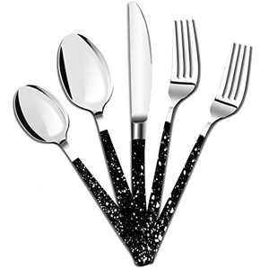 Embossed Silverware Set 5 Pcs Dinnerware Sets Stainless Steel Flatware Cutlery Set Kitchen Utensils Cow Spot Design Tableware for Home Party Wedding Dishwasher Mirror Polished Knife Fork Spoon(Black)