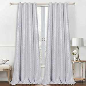 VERTKREA Blackout Window Curtain, Foil Curtain Print, Geometric Room Darkening Thermal Insulated Grommet Window Curtain, Silver Diamond Foil Print Drapes for Room, 2 Panels, 52 x 84 Inches, Light Gray