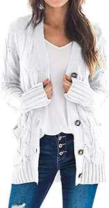 TARSE Women's Open Front Long Sleeve Cardigan Sweater Cable Knit Pocket Outwear,White,M