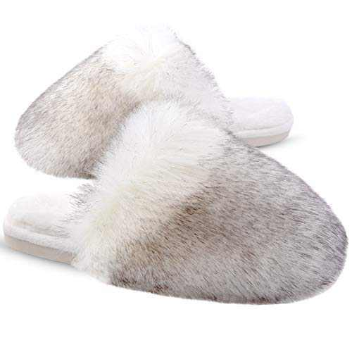 Womens Furry Slippers Soft Long Fur Plush Fleece Slip On Fluffy House Shoes Warm Comfortable Fuzzy Furry Bedroom Slippers Indoor Cozy Memory Foam Anti-Slip Black/White 5-6