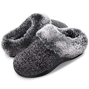 Women's House Slippers Plush Faux Fur Collar Chenille Knit Scuff Warm Ladies' Fuzzy Slip on House Shoes Memory Foam Indoor Outdoor Anti-Skid Dark Grey 7-8