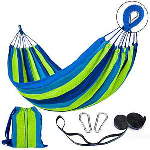Lalafancy Double Hammock 2 Person Cotton Travel Hammock with Carrying Bag, 450lbs Ultralight Camping Hammock for Patio Porch Garden Backyard Lounging Outdoor or Indoor Blue/Green Stripes
