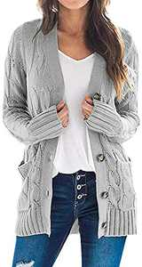 TARSE Women's Open Front Long Sleeve Cardigan Sweater Cable Knit Pocket Outwear,Gray,L