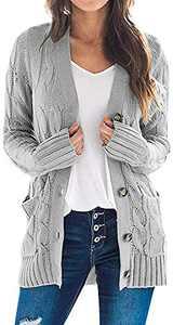 TARSE Women's Open Front Cardigan Sweaters Pockets Long Sleeve Cable Outwear Chunky Knitwear Coat (LightGray,L)