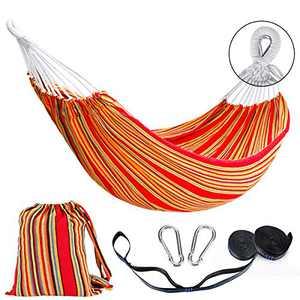 Double Hammock 2 Person Cotton Travel Hammock with Carrying Bag, 450lbs Ultralight Camping Hammock for Patio Porch Garden Backyard Lounging Outdoor or Indoor Rainbow Stripe Hammock