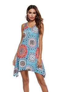 ONEYIM Women's Casual Summer V Neck T Shirt Dresses Beach Cover up Plain Tank Dress (Floral Mix Blue, XL)