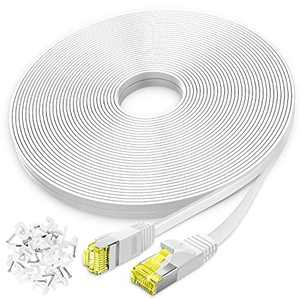 AoforzTech Ethernet Cable Cat 6 50 ft - White Flat High Speed Internet Network Cable Cable Clips - Computer Cable Snagless Rj45 Connectors - 50 feet White