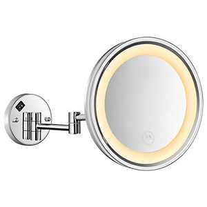 Makeup Mirror, 10 Inch Vanity Makeup Mirror with 5X Magnification, LED 360° Swivel