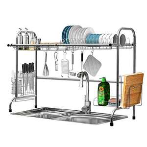 Over The Sink Dish Drying Rack, KINGSO 2 Tier Dish Drainer Stainless Steel Kitchen Sink Drying Rack w/Utensil Holder 8 Hooks for Kitchen Counter Organization Storage Space Saver (Sink Size≤32.5 inch)