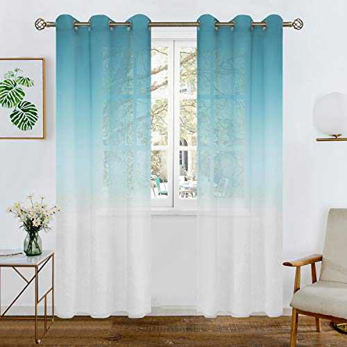 BGment Faux Linen Ombre Sheer Curtains for Living Room, Grommet Semi Voile Light Filtering and Privacy Curtains for Bedroom, Set of 2 Panels ( Each 42 x 95 Inch, Blue )