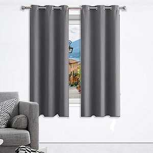 """CHRAMACY Blackout Curtains for Bedroom 63 inches Long- Thermal Insulated Grommets Window Curtains Set of 2 Panels,Room Darkening Curtain for Living Room (Grey,42"""" W x 63"""" L)"""