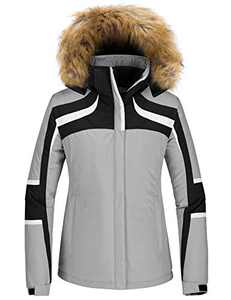 Skieer Women's Ski Jacket Waterproof Snow Coat with Detachable Hood Gray XL