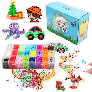 Fuse Beads Craft Kit -5mm Clear Plastic Pegboards with 90 Full Size Patterns for Kids Craft Beads -Also Includes Colorful Card Templates, Reusable Ironing Paper and Tweezers