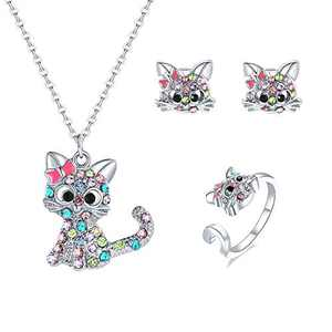 Bievochy Cat Necklace for Girls Women Kitty Cat Pendant Necklace Earrings Ring Jewelry Set (Pink)