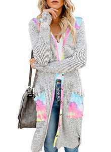 EVALESS Women Long Sleeve Button Down Pocketed Cardigans Open Front Long Knit Outwear Multicolor S