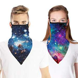 2 PCS Face Cover Neck Gaiter Scarf with Ear Loops, UV Dust Protection Bandana Headwear for Outdoor Hiking Cycling (Starry Sky#1)