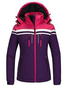 Skieer Women's Hooded Skiing Jacket Mountaineering Waterproof Rainwear Purple L