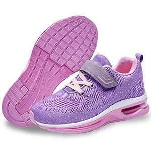 QAUPPE Kids Memory Foam Girls Air Running Sport Walking Training Shoes Atheletic Boys Tennis Fashion Sneakers Purple