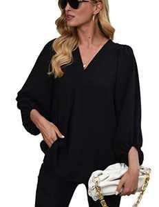 Womens Long Sleeve Blouses, V Neck Tops Lantern Sleeve Shirts Loose Blouses Black M