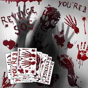 Halloween Window Clings, Bloody Handprint Footprint, 12 Sheets 130 PCS Halloween Window Decorations, Halloween Wall Decor, Halloween Window Stickers for Vampire Zombie, Spooky Window Stickers