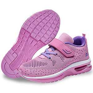 QAUPPE Kids Memory Foam Girls Air Running Sport Walking Training Shoes Atheletic Boys Tennis Fashion Sneakers Pink
