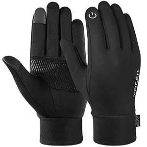 Reflective Sports Gloves Full Finger Winter Gloves Touch Screen Function Warm Running Gloves with Palm Pocket Design