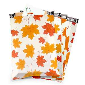 Poly Mailers, Mailing Envelopes, Peel & Seal, 10x13 inch, 100-Pack, Maple Leaves Shipping Bags for Clothing, 2.75 Mil Thickness Mailers, Shipping Envelopes with Self Adhesive Strip
