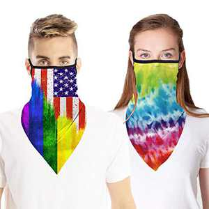 2 PCS Face Cover Neck Gaiter Scarf with Ear Loops, UV Dust Protection Bandana Headwear for Outdoor Hiking Cycling (Colorful#1)