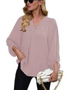 Womens Long Sleeve Blouses, V Neck Tops Lantern Sleeve Shirts Loose Blouses LightPink XL