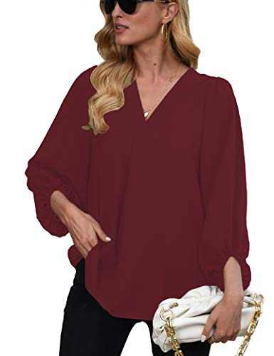 Womens Long Sleeve Blouses, V Neck Tops Lantern Sleeve Shirts Loose Blouses WineRed 2XL