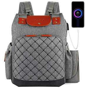 Diaper Bag Backpack, Waterproof Travel Back Pack with Changing Pad & Stroller Straps and Insulated Pockets, Large Capacity Multifunction Baby Diaper Backpack for Mom with USB Charging Port (Grey)