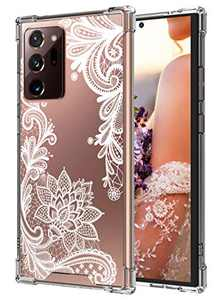 Cutebe Cute Clear Crystal Case for Samsung Galaxy Note 20 Ultra 6.9 Inch 5G, Shockproof Series Hard PC+ TPU Bumper Yellow-Resistant Protective Cover (White Floral Design) for Women, Girls