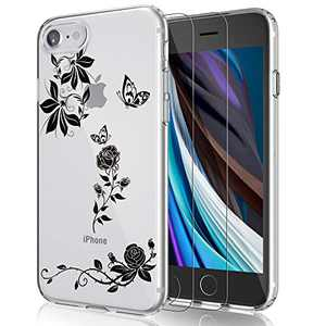 EMZhole Case for iPhone SE 2020 Case with Screen Protector, Floral Pattern Design on Clear Case for Women Girls Slim Fit Case Cover for iPhone SE 2020/ iPhone 7/ iPhone 8 4.7 Inch - Black Flower