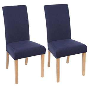 smiry Chair Covers for Dining Room, Stretch Jacquard Dining Room Chair Covers, Removable Washable Parsons Chair Slipcovers Set of 2, Federal Blue