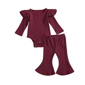 Infant Baby Boys Girls Fall Winter Knit Outfit Ruffle Long Sleeve Romper Bodysuit Top Bell Bottom Flare Pants Set (Wine Red, 18-24M)