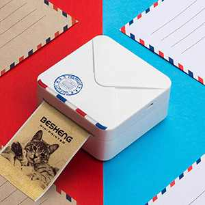 BESHENG M02S Mini Printer, Bluetooth Thermal Printer with USB Cable, Pocket Printer Compatible with iOS Android, Use for Journal Planner,Organization,Working Assistance,Study Notes etc