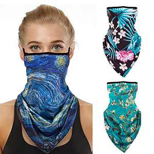 Face Bandana, 3 Pack Face Mask Reusable Neck Gaiter Scarf Men Women Half Face Cover for Outdoor, Biking, Motorcycle