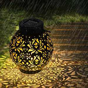 Solar Lanterns Outdoor, OOWOLF Hanging Solar Lanterns with Handle, Hollowed-Out Design, IP44 Waterproof Outdoor Solar Garden Lights, Backyard Lights Outdoor for Terrace, Front Door, Path, Street, Lawn