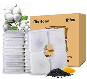 Morfone 12 PCS Cat Water Fountain Filter Replacement, Square Pet Water Dispenser Filters for 84oz/2.5L Automatic Cat & Dog Drinking Water Fountain