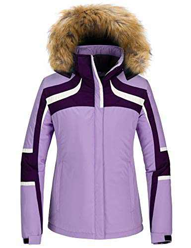 Skieer Women Mountain Waterproof Snow Jacket Windproof Winter Raincoat Purple S