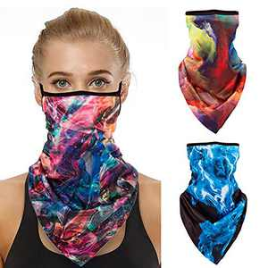 Face Bandana Ear Loops, 3 Pack Face Mask Reusable Neck Gaiter Scarf Men Women Half Face Cover for Outdoor, Biking, Motorcycle