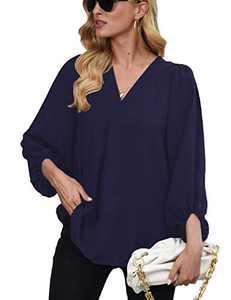 Womens Long Sleeve Blouses, V Neck Tops Lantern Sleeve Shirts Loose Blouses NavyBlue 2XL