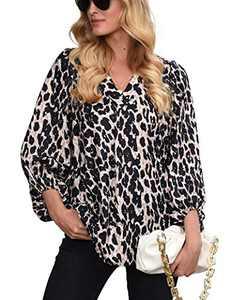 Womens Long Sleeve Blouses, V Neck Tops Lantern Sleeve Shirts Loose Blouses Leopard 2XL