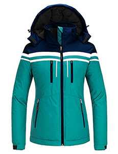 Skieer Women's Ski Jacket Winter Coat with Detachable Hood Blue M
